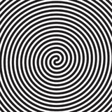 Hypnotic circles abstract white black vector spiral swirl optical illusion pattern background. Hypnotic circles abstract spiral lines swirl or optical illusion stock illustration