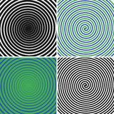 Hypnotic circles set. Collection of psychedelic spiral backgrounds. Abstract hypnosis optical illusion swirls. Vector. vector illustration