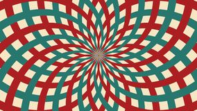 Hypnotic circus animated rotation looped background of red and green lines stripe. Retro motion graphic sun beam ray. Vintage fun  royalty free illustration