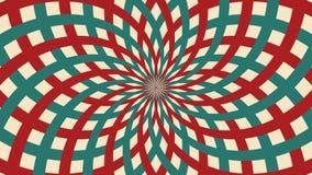 Hypnotic circus geanimeerde omwenteling voorzag achtergrond van rode en groene lijnenstreep van een lus Retro de straalstraal van royalty-vrije illustratie