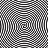 Hypnotic cirkels vatten witte zwarte vector spiraalvormige het patroonachtergrond samen van de wervelingsoptische illusie stock illustratie