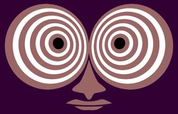 Hypnotic look. Hypnotic eyes on a lilac background.Facetious picture.Vectorial illustration Royalty Free Stock Photography