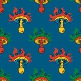 Hypnotic mushroom seamless pattern. Original design for print or digital media vector illustration