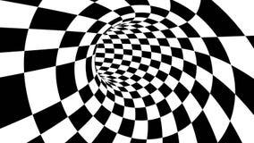 Hypnotic optical illusion black and white monochrome wormhole tunnel vortex checkerboard background element