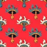 Hypnotic paddestoel naadloos patroon stock illustratie