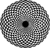 Hypnotic Pattern. A hypnotic floral pattern in black & white, isolated on a white background stock illustration