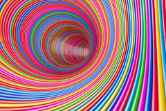 Hypnotic Psychedelic Multicolour Circles Tunnel. 3d Rendering Stock Image