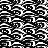 Hypnotic seamless black and white sea waves pattern in traditional Japanese style stock illustration
