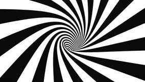 Hypnotic spiraalvormige 4K zwart-witte 50fps stock illustratie
