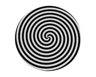 Hypnotic spiral. On the round plate 3d render vector illustration