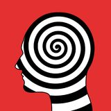 Hypnotic spiral in the head. Hypnosis, psychosis, psychologic disorder, mental illness. Psychedelic and hallucinogenic consciousness of mind. Vector Stock Photos