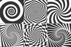 hypnotic spirala Zawijas hipnotyzuje spirale, zawroty głowy geometrycznego złudzenie i wirować lampasa round wzoru wektor, royalty ilustracja