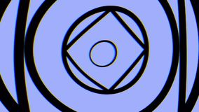 Hypnotic video pattern. Retro psychedelic animation with geometric shapes, blue background. Geometric loop background