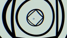 Hypnotic videopatroon Retro psychedelische animatie met geometrische vormen, blauwe achtergrond Geometrische lijnachtergrond royalty-vrije stock afbeelding