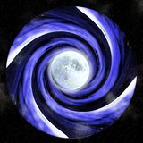 Hypnotic vortex with full moon Royalty Free Stock Photos