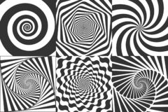 Hypnotische Spirale Strudel hypnotisieren Spiralen, geometrische Illusion des Schwindels und drehenden runden Mustervektor der St lizenzfreie abbildung