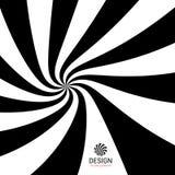 Hypnotischer gewundener Hintergrund Muster mit optischer Illusion Schwarzweiss-Design Gestreifte Vektorillustration stock abbildung