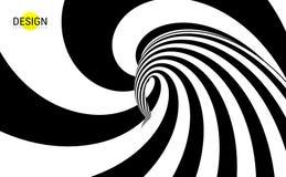 Hypnotischer gewundener Hintergrund Muster mit optischer Illusion Schwarzweiss-Design Gestreifte vVector Illustration lizenzfreie abbildung
