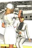 Hypnotised Eyes. Nurse hypnotising a female patient who has spiral effect eyes Stock Image