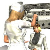Hypnotised Spiral Eyes. Nurse hypnotising a female patient who has spiral effect eyes Stock Images