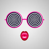Hypnotising glasses and pink lips Royalty Free Stock Photography