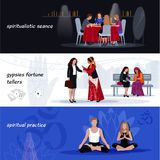 Hypnotism Extrasensory Banner Set Stock Photo