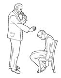 Hypnotist hypnotizes man. Black vector illustration  on white background Stock Photo