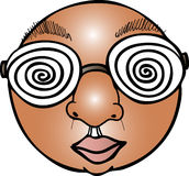 Hypnotized Eyes. Illustration of a circular face wearing glasses with hypnotic swirls Royalty Free Stock Images