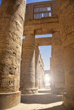 The Hypo style hall at the Karnak temple. With 134 large pillars built by king Seti I and his son the great king Ramses II Stock Photos
