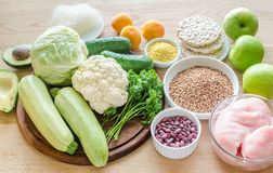 Hypoallergenic diet: products of different groups royalty free stock image