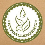 Hypoallergenic green label, badge with leaves and water drop for allergy safe products,  vector object.  Stock Photography