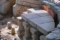 Hypocaust archaeological excavation Stock Photo
