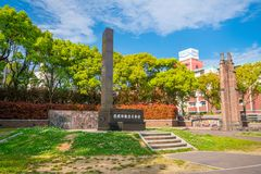 The hypocenter memorial at the site of the Nagasaki Atom Bomb dr. NAGASAKI - 13 APRIL : The hypocenter memorial at the site of the Nagasaki Atom Bomb drop royalty free stock photo