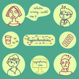 Hypochondria icons set Stock Photography