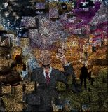 Hypocrisy. Abstract painting. Man without face Image composed entirely of text stock illustration