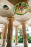 Hypostyle chamber of Antoni Gaudi. In Park Guell in Barcelona Spain Royalty Free Stock Photo