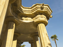 Hypostyle hall. Colonnade in the hypostyle hall of Park Guell designed by Antonio Gaudi in Barcelona. Part of the UNESCO World Heritage Site Works of Antoni Royalty Free Stock Image