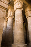 Hypostyle Hall, Dendera Temple, Egypt. Interior of the painted and carved hypostyle hall at Dendera Temple.  Ancient Egyptian temple near Qena Stock Image