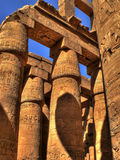 Hypostyle Hall detail of Karnak (Luxor, Egypt). Detail of Hypostyle Hall (or hall of columns) at Amon enclosure inside the Karnak Templar complex Royalty Free Stock Image