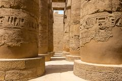 The Hypostyle Hall at Karnak in Egypt. The Great Hypostyle Hall was part of one of the largest religious complexes in the ancient world, located in Egypt in stock photo