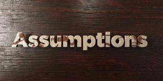 Hypothèses - titre en bois sale sur l'érable - image courante gratuite de redevance rendue par 3D illustration libre de droits