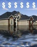 Hypotheek die - in Schuld verdrinkt Stock Afbeeldingen