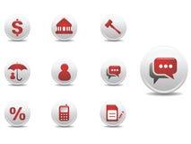 Hypotheek en financiën geplaatste pictogrammen stock illustratie