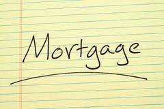 Hypothek auf einem gelben Kanzleibogenblock Lizenzfreie Stockbilder