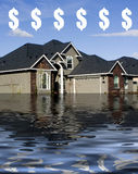 Hypothek - ertrinkend in der Schuld Stockbilder