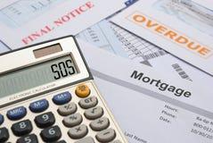 Hypothek und Rechnungen zum zu zahlen Stockbild