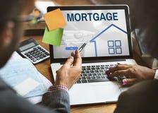 Hypotheken-Eigentums-Anmeldungs-Seiten-Netz-Grafik-Konzept Lizenzfreies Stockbild