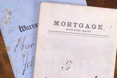 Hypotheken-und Garantie-Brief Stockbild