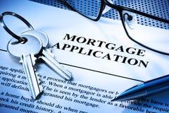 Hypotheken-Wohnungsbaudarlehen-Anwendung stockfotografie