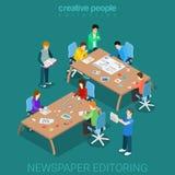 Hyr rum det editoring teamworkmassmedia för tidning den plana isometriska vektorn 3d stock illustrationer